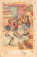 """M08177 """"BUON NATALE"""" BAMBINI -CAGNOLINO - PRESEPE  CART. POST. ORIG. SPEDITA - Natale"""