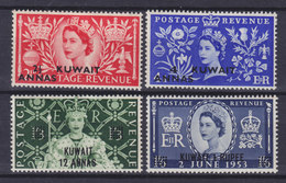British Kuwait 1953 Mi. 104-07 Coronation Krönung QEII Complete Set MH* - Kuwait