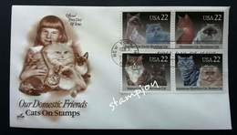 USA United States Cats 1988 Cat Pet. (stamp FDC) - Stati Uniti