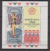 Indonesie Indonesia Blok Sheet 614 (B11) Used ; Ter Stimulering Van Het Toerisme Jaar 1968 - Vakantie & Toerisme