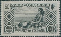 French Oceania 1934 SG100 60c Black Tahitian Girl MLH - Oceania (1892-1958)