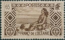 French Oceania 1934 SG101 65c Brown Tahitian Girl MLH - Oceania (1892-1958)
