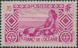 French Oceania 1934 SG102 70c Pink Tahitian Girl MLH - Oceania (1892-1958)