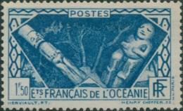 French Oceania 1934 SG110 1f.50 Blue Native Gods MLH - Oceania (1892-1958)