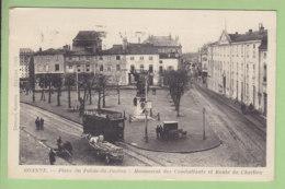 """ROANNE : Place Palais De Justice, Monument Combattants, Route De Charlieu. """" Censure Octobre 1939"""". 2 Scans. Ed Prieur - Roanne"""