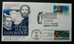 USA United States Polish Polar Exploration 1987 (stamp FDC) *dual Cancellations - Stati Uniti