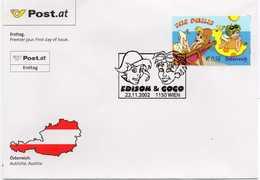 - FDC WIEN (Autriche) 22.11.2002 - BANDE DESSINEE THE PHILIS : Edison & Gogo - - Bandes Dessinées