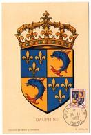 HERALDIQUE = 38 GRENOBLE 1953 = CARTE MAXIMUM  Illustrée D' ARMOIRIES + N° Yvt 954 DAUPHINE - Maximumkarten