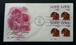 USA United States Love Stamp 1986 Dog Valentines (stamp Block Of 4 FDC) - United States