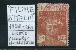 """1920 20c """"FIUME D'ITALIA"""" Anzichè """"Poste Di Fiume"""" - Usato - Legg. Spellatura - 9. WW II Occupation (Italian)"""
