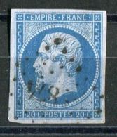 "FRANCE ( POSTE ) : Y&T  N° 14A  OU 14B  BLEU  SUR  LILAS , TIMBRE  SIGNE  ""  BRUN "" . - 1853-1860 Napoléon III"