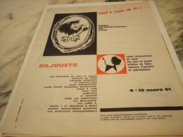 ANCIENNE  PUBLICITE FOIRE INTERNATIONNAL DE LYON SILJOUET  1961 - Other