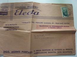 """Busta Viaggiata Pubblicitaria """"EDIZIONI MUSICALI ELECTA"""" 1954 - 6. 1946-.. Repubblica"""