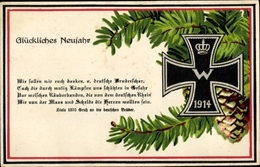 Passepartout Cp Glückwunsch Neujahr, Eisernes Kreuz, Kiels Gruß 1870 - New Year