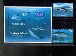 NORFOLK 619/620 + BLOC 21** SUR LES DAUPHINS ET L EXPO PACIFIC 97 - Ile Norfolk