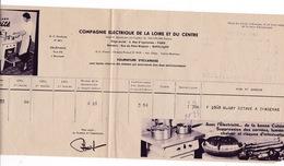 Facture 1941 Cie Electrique De La Loire Et Du Centre, Rue Du Pont-Ringuet, Montluçon - Electricity & Gas