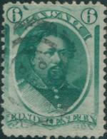 Hawaii 1864 SG30 6c Green King Kamehame V FU - Hawaï
