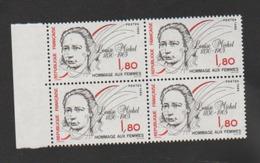 FRANCE / 1986 / Y&T N° 2408 ** : Louise Michel X 4 Dont 2 BdF G - Ongebruikt