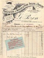 1 Facture Amboise Indre &Loire Manufacture D'Articles De Pêche Anglais & Français G.Pezon C1913  Tel.19 - France