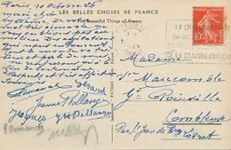 CP Paris Parc Monceau Envoi Grand Poinville Combleux St Jean De Braye Loiret Flamme Chalcographie - Other Municipalities