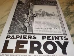 ANCIENNE   PUBLICITE PAPIER PEINT LEROY COLLECTION 1928 - Other
