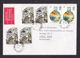 UK: Swiftair Express Cover To Netherlands, 1987, 6 Stamps, Newton, Ambulance, Rare 1.86 Rate, Label (traces Of Use) - 1952-.... (Elizabeth II)