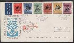 INDONESIA - 7 4 1960 FDC RIFUGIATI  - FLÜCHTLINGE RÉFUGIÉS    -VIAGGIATA CON RACCOMANDATA - Rifugiati