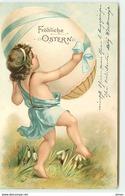 N°7484 - Carte Fantaisie - Fröhliche Ostern - Enfant Portant Un Oeuf - Pâques