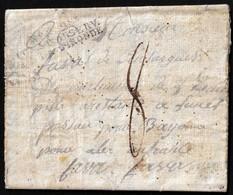 "1808. TOLEDO TO FRANCE. MARK ""Nº 2 2ME/CORPS D'OBSERV./DE LA GIRONDE"" (IX-27). PORTEO MNS. ""8"" DÉCIMAS. LUGAR INÉDITO. - Marcofilia (sobres)"