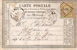 Côte-d'Or - CPP Affr N° 55 Obl Ambulant BES P - Càd Type 17 Gare D'Auxonne - 1849-1876: Période Classique