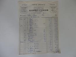 Facture Vieux Métaux & Transports A. Goubet-Cousin à Fins (80). - France