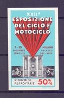 CINDERELLA ERINNOFILIA ESPOSIZIONE DEL CICLO E MOTOCICLO MILANO 1940  (GIUGN1900B59) - Erinnofilia