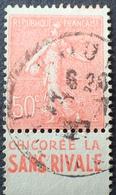"""R1934/169 - 1924 - TYPE SEMEUSE LIGNEE - N°199 Avec Bande Publicitaire """" CHICOREE LA SANS RIVALE  """" - Advertising"""