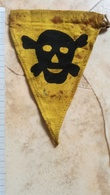 RARE GERMAN GERMANY WWII WARNING MINE FIELD DANGER Sign Military MINEFIELD MARK PATCH Flicken DEUTSCHE SKULL TOTENKOPF - Scudetti In Tela