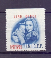 CINDERELLA ERINNOFILIA CAMPAGNA ITALIANA UNICEF  (GIUGN1900B62) - Erinnofilia