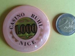 Jeton De 1000. CASINO RUHL NICE. N° De Série 00880 - Casino