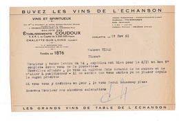 Courrier 1951 Vins Spiritueux Ets Coudoux, Chalette-sur-Loing (Loiret) - Alimentare