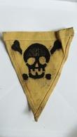 GERMAN GERMANY WWII WARNING MINE MINENFELD DANGER Sign Military MINEFIELD MARK PATCH Flicken DEUTSCHE SKULL TOTENKOPF - Blazoenen (textiel)
