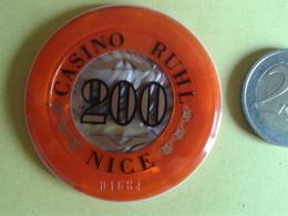 Jeton De 200. CASINO RUHL NICE. N° De Série 01684 - Casino