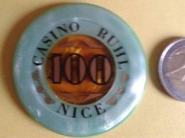 Jeton De 100. CASINO RUHL NICE. N° De Série 02079 - Casino