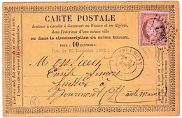 Entier Postal 1874 Bourmont Haute Marne Émile Simon Huissier De Justice Timbre Cérès 10 Centimes - 1871-1875 Cérès