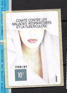 France: Petite Vignette De 6 X 8 Cm (Comité Contre Les Maladies Respiratoires Et La Tuberculose,10f De 1988/89) - Erinnofilia