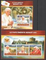 ST1355 2013 GUINEE GUINEA FAMOUS PEOPLE POPE BENOIT XVI PAPE EMERITE BENOIT XVI KB+BL MNH - Popes