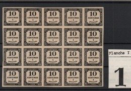 !!! PRIX FIXE : TAXE CARREE N°2, 10C TYPO, BLOC DE 20 NEUF GOMME D'ORIGINE, LA PLUPART NEUFS ** QUALITE SUPERBE RRR - 1859-1955 Neufs