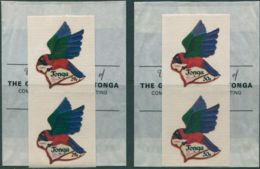 Tonga 1973 SG484-486 Red Shining Parrot SPECIMEN Pairs MNH - Tonga (1970-...)