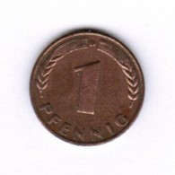 """GERMANY  1 PFENNIG 1949 """"D"""" (KM # A101) #5276 - [ 7] 1949-… : FRG - Fed. Rep. Germany"""