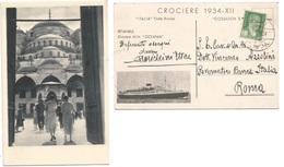 Crociere Italiane 1934 By Italia Flotte Riunite MN Oceania -Istanbul Stage -ADV Promo Pcard Galata 3sep1934 X Italy - Turkey