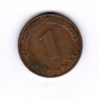 """GERMANY  1 PFENNIG 1950 """"D"""" (KM # 105) #5277 - [ 7] 1949-… : FRG - Fed. Rep. Germany"""