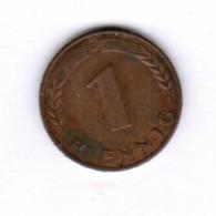"GERMANY  1 PFENNIG 1950 ""D"" (KM # 105) #5277 - [ 7] 1949-…: BRD"