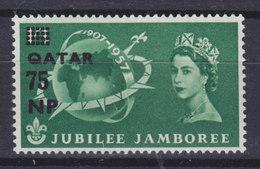 British Protectorate Quatar 1957 Mi. 18    75 NP Auf 1'3 Sh'p Pfadfinder Scouts Anniversary Aufdruck Overprinted MNH** - Qatar